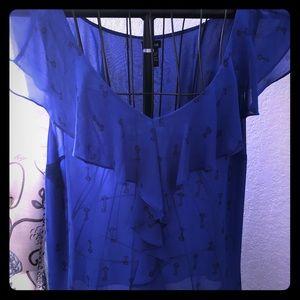 Torrid blue sleeveless tank - key print